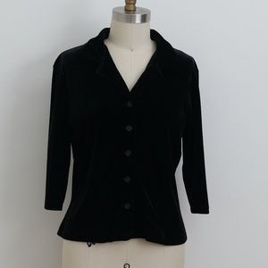 VINTAGE 1990's Black stretch velvet button blouse